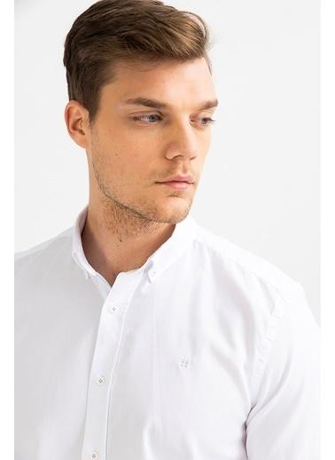 Avva Erkek  Oxford Klasik Yaka Gömlek A01S2272 Beyaz